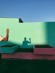 ściana, cień, ręka, gest powitania