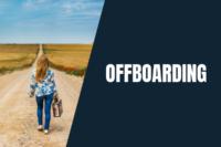 napis: offboarding, zdjęcie kobiety odchodzącej drogą, z walizką w dłoni