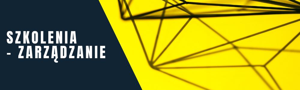 napis: szkolenia - zarządzanie. Na grafice - metalowa konstrukcja na żółtym tle.