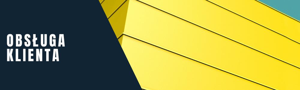 Tekst: obsługa klienta. Żółty, abstrakcyjny element - fasady budynku.