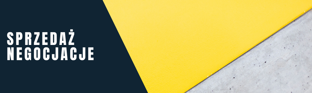Napis: sprzedaż / negocjacje. Żółto-szara abstrakcyjna grafika.