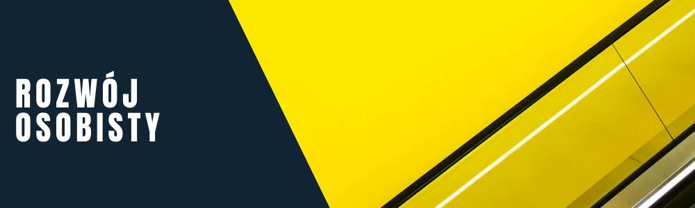 Napis: rozwój osobisty. Żółta abstrakcyjna grafika.