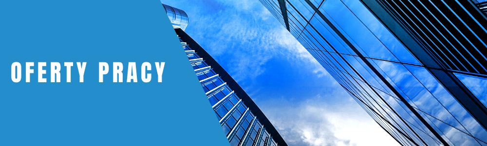 banner z napisem oferty pracy utrzymany w niebieskiej kolorystyce
